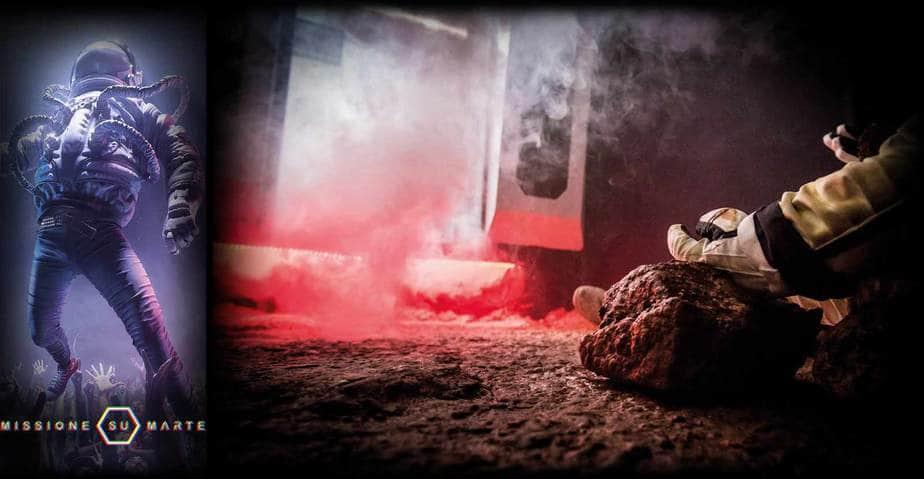 rover spaziale con fumo scenografia escape room
